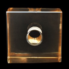 Cubo Box Lapidado art. 34 LDI 120 Cristal Honey Dourado 35x35x20mm
