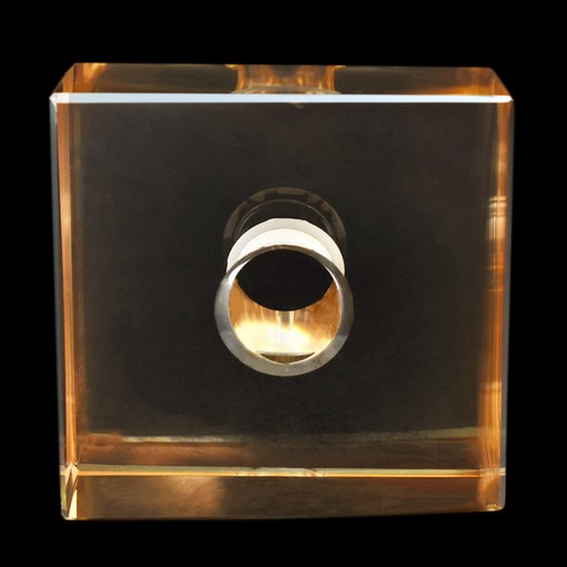 Cubo Box Lapidado art. 34 LDI 120 Cristal Honey Dourado 50x50x15mm