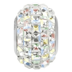 Charm Swarovski Becharmed Pave Strass Carre Cristal Aurora Boreal 15mm