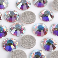 Strass Chaton Base Reta com cola Hot Fix Preciosa art. 43811612 Viva 12 Cristal Aurora Boreal SS40  8,35mm