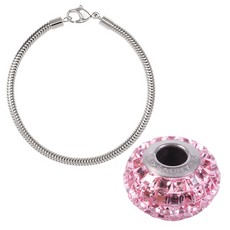 Kit Swarovski Becharmed Pulseira 190mm  Charm Pave Light Rose 15mm