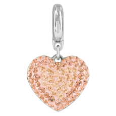 Charm Swarovski Becharmed Pingente Coracao de Strass Light Peach 14mm