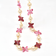 Colar Jasmine Collection Dourado 49cm Fuchsia