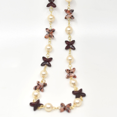Colar Jasmine Collection Dourado 49cm Garnet