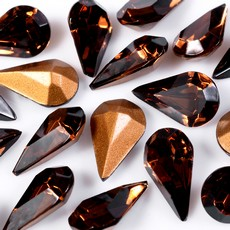 Strass Gota Swarovski art. 43002 Smoked Topaz 10x6mm